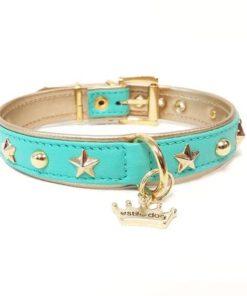 collar modelo lua celeste de la marca estil for dog para perros pequeños. Somos criadores de caniche toy rojo y cavalier