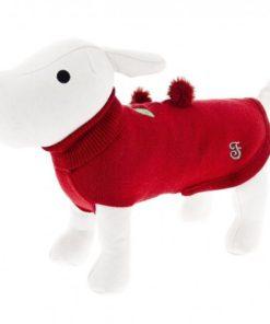 Jersey maglioncino rojo de la firma ferribiella. Lo ultimo en ropa para perros. Criadores de caniche toy, caniche mini toy y cavalier
