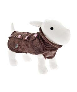 Jersey pin up marron de la firma ferribiella para perros de talla pequeña. Criadores de caniche toy, caniche mini toy y cavalier