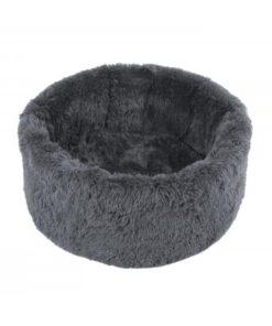 Cama Terezie gris con textura de peluche de la firma Ohlala pets para perros de talla pequeña. Criadores de caniches toy, mini toy y cavalier