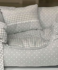 cama gris lunares y cuadros para perros de talla pequeña. Salvaterra de magos criadores de caniches toy